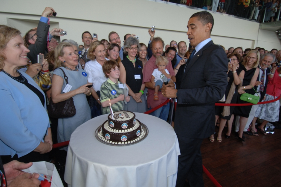 My biggest cake baking thrill was to do this birthday cake for Barack Obama!  Not only did I make the cake but I got to stand there and light the candles for him to blow out.  I still have those candles!!